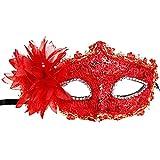 Vococal® Dentelle avec Strass et Fleur de Lys Style Vénitien Mascarade Halloween Costume Party Masque Rouge