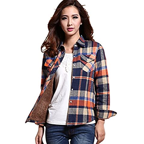 Womens Winter Plaid Cotton Fleece Lined Flannel Shirt1 Blue Asian
