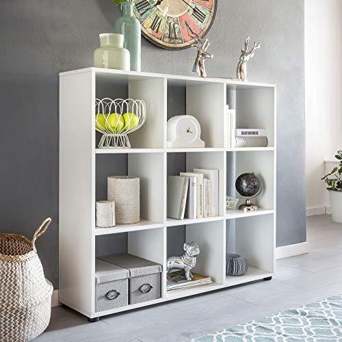 Wohnling Diseño Estante Zara con 9Compartimentos Color Blanco 108
