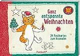 Om-Katze: Ganz entspannte Weihnachten: 24 Postkarten zum Ausmalen