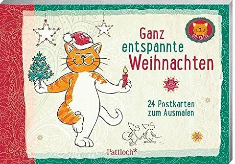 Om-Katze: Ganz entspannte Weihnachten: 24 Postkarten zum Ausmalen (Katze Weihnachtskarten)