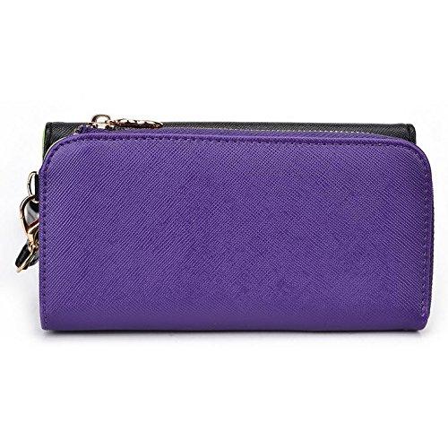 Kroo d'embrayage portefeuille avec dragonne et sangle bandoulière pour Philips w8500 Multicolore - Black and Purple Multicolore - Black and Purple