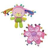 INCHANT Lovey Baby-Häschen Rabbiet Sicherheit Blanket Spielzeug mit Plüsch Taggies Sicherheitsdecke Pink Flower
