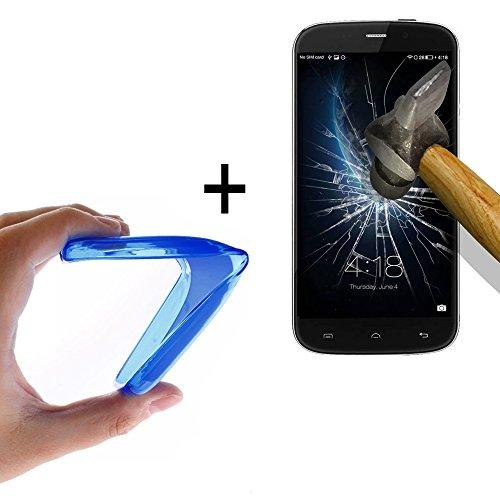 WoowCase - Flexible Gel Schutzhülle für [ Doogee Nova Y100X] [ +1 Schutzglas ] Hartglas, Hülle Case TPU Silikon in Blau