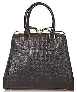 italienische Damen Henkeltasche Tel Aviv aus echtem Leder in schwarz, Made in Italy, Handtasche 32x29 cm