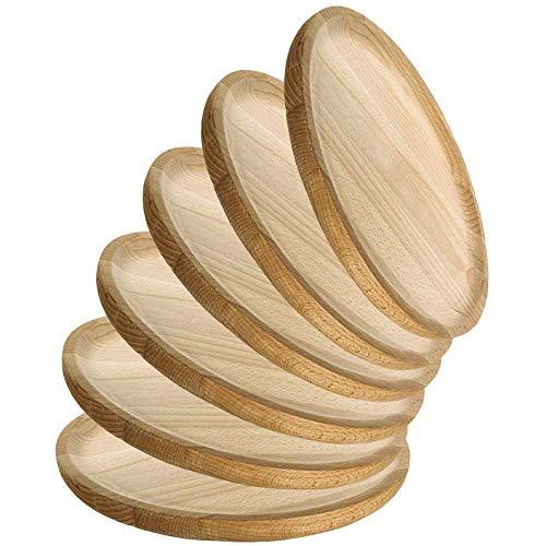 MGE - Holzteller Rund - Holzplatte - Fleischteller - Pizzateller - Schneidebrett - Kiefer - Set von 6 - Ø 26 cm - Made in Spain