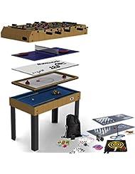 Riley Mesa de juegos 4 en 1 plegable 11 juegos incluídos ( Futbolín, Ping pong, Billar, Air hockey … )