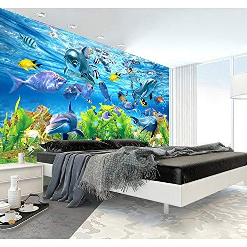 Mddjj Benutzerdefinierte Mural 3D Benutzerdefinierte Tapete Unterwasserwelt Marine Fisch Wandbild Kinderzimmer Tv Hintergrund Aquarium Tapete Wandbild -250X175Cm -