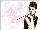 Audrey Hepburn imagenation 'flores fondo pose' 60 cm X 80 cm - impresión en láminas autoadhesivas papel de cartel