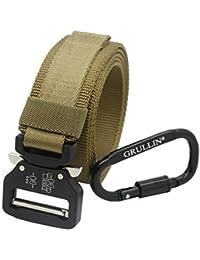 GRULLIN Táctico MOLLE Rigger Cinturón, Tarea Pesada Utilidad Cinturón Cintura,Correa Ajustable Militar Nylon Web Correa,Desmontable Metal Hebilla Clip,Engranaje D-Ring Carabiner EDC