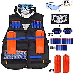 Kit de Chaleco táctico para Conjuntos de Chalecos tácticos para niños Nerf Elite N-Strike Elite Series (Black Vest Kits 37pcs)