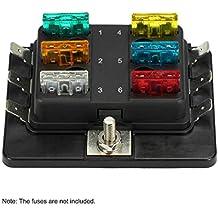 KKmoon Blade Fuse Box; 1 Power in 6 Way Blade Fuse Box Holder for Car Boat Marine 12V 24V
