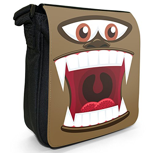 Monster Faces-Borsa a spalla piccola di tela, colore: nero, taglia: S Nero (Ape Monster Face)