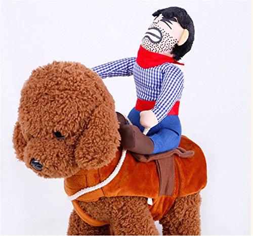 Halloween Cowboy Rider Hund Kostüm für Hunde pinwei Funny Outfit Knight Stil Hund Kleidung mit Puppe Halloween Tag Pet (Auf Kostüme Fahrt)