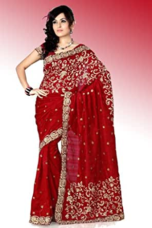 FASHIONABLE RED BRIDAL WEAR SARI INDIAN ZARI WORK SAREE