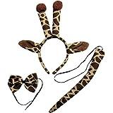 (jirafa Set) Negro, Beige y Marrón Teufel Disfraz de peluche con orejas, cola y pajarita