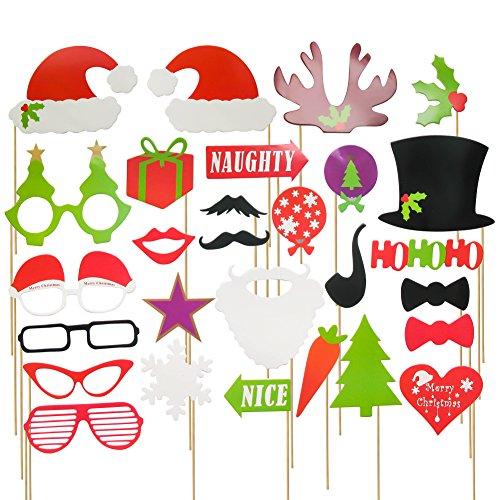 TOAOB Weihnachten Serie Party Foto Fotorequisiten Fotoaccessoires Tabakspfeife Kronen Krawatten Hüte Bart Kussmünder Brillen Bowknot Herz Tannenbaum etc Packung mit 28 (Kostüm Mustache Diy)