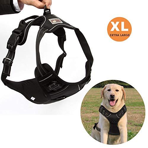 Funkeen® Hundegeschirr für Große Hunde Anti Zug Geschirr No Pull Sicherheitsgeschirr Brustgeschirr - verstellbar, Weiches reflektierend, atmungsaktiv, Leichtes Hundegeschirr (XL)