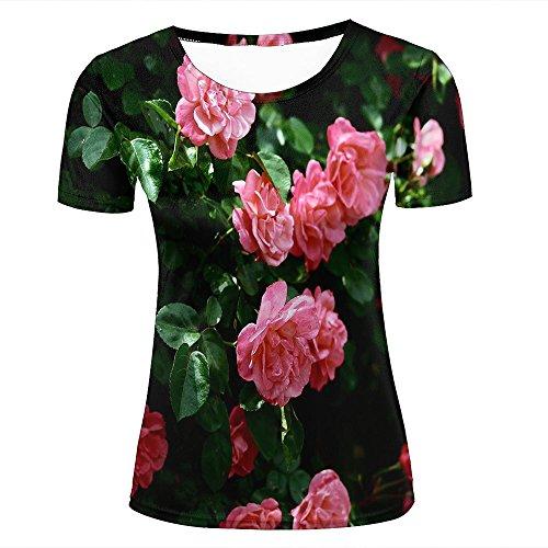 JINGTEE 3D Tshirts Women Pink Flower Green Leaf Casual Graphics Tees L