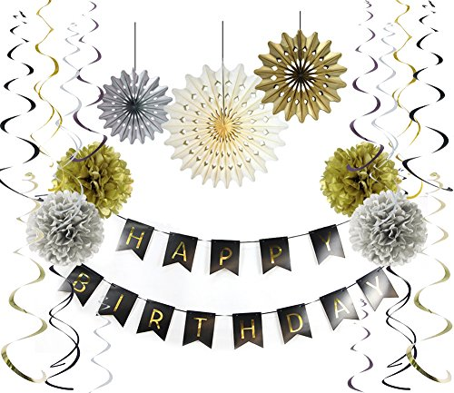 SUNBEAUTY Happy Birthday Banner-Set aus Seidenpapier - Fächer, Papierkreise und -punkte, Girlanden, Pom-Poms, Blumen für Partydekoration zum 30. oder 50. Geburtstag, in Gold, Schwarz und Weiß Black Gold Kit-3