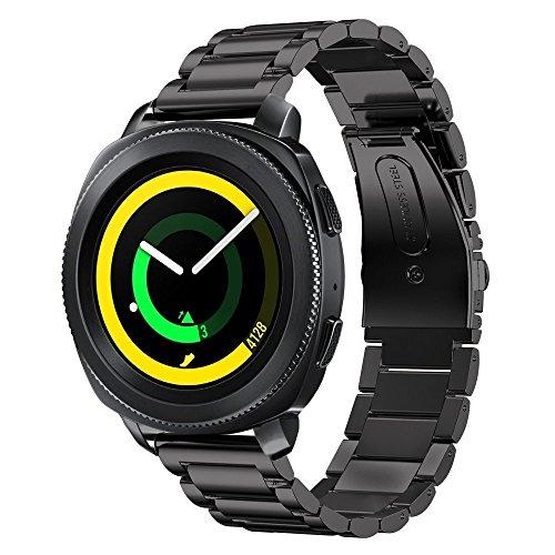 sundaree Compatible avec Gear Sport Bracelet,20MM Noir Bracelet de Remplacement Bande de Poignet en Acier Inoxydable Métal Bracelet Pour Samsung Gear Sport SM-R600(Sport Black)