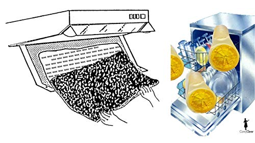 Dunstabzugshaube Aktivkohle zuschneidbar - Aktiv-Kohlefilter für Abzugshaube Dunstabzug 60cm Dunstfilter Universal 57 x 47 cm Schwarz + 3 Miniduft Zitronen für Ihren Geschirrspüler