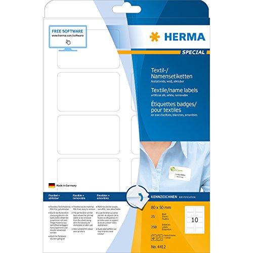 Herma 4412 Namensetiketten ablösbar (80 x 50 mm, weiß) 250 Stück auf 25 Blatt DIN A4, selbstklebende Textil-Namensschilder bedruckbar