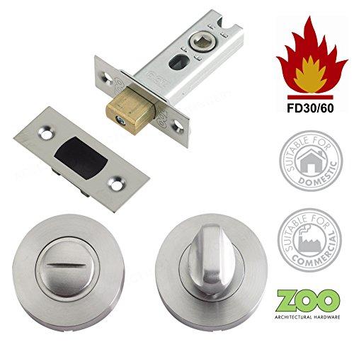 Badezimmer WC-Tür Einsteckschloss Riegel 64mm Stahlrohr mit und Release Satin Edelstahl Zoo Hardware