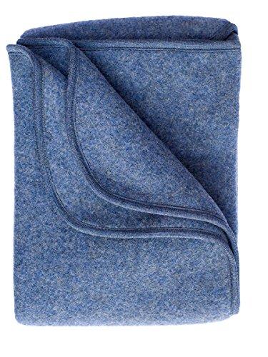 Preisvergleich Produktbild Engel Baby Decke aus 100% Wollfleece kbT,  Größe 80x100 (80x100,  Blau melange)