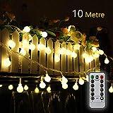 Titiyogo Lichterkette, batteriebetrieben, 10 m, 80 LEDs, wasserdicht, für Innen- und Außenbereich, batteriebetrieben, für Partys, Garten, Terrasse, Hochzeit, Dekoration, 8 Modi, Fernbedienung