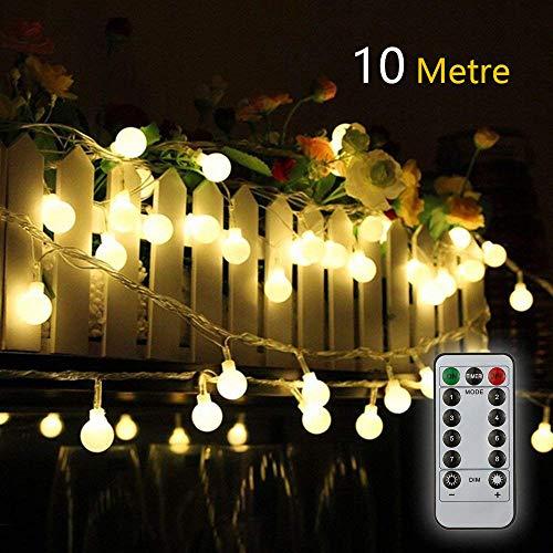 e - batteriebetrieben, 10 m, 80 LEDs, wasserdicht, für Innen- und Außenbereich, für Partys, Garten, Terrasse, Hochzeit, Dekoration, 8 Modi, Fernbedienung ()