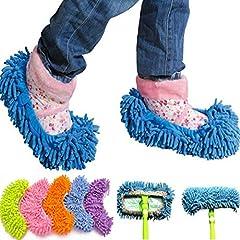 Idea Regalo - Ciabatte pattine Mop con frange cattura polvere in microfibra ottime per pulizia pavimenti e adattabili a scopa Mop - Taglia Unica Colore Casuale