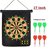 O&B Latest Roll-up Magnetic Dart Board Set 17 Inch Double Sided Hanging Wall Dartboard With 6 Safety Darts Needles For Kids And Adults