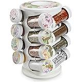 JVS Majestic Plastic Spice Tower Set, 16 Jars and 1 Revolving Rack, Lavender Gold