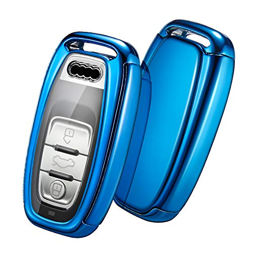Carcasa para Llave Audi - Llave 3 Botones Funda para FOB Llaves A4, A5, A6, A7, Q5, Q7, Q8, RS SQ Carcasa de Llave (Azul)
