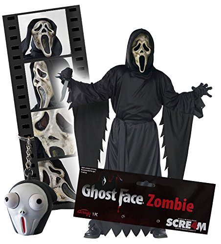 Kostüm Komplette Zombie - Cultica Scream Ghostface Zombie Komplett Set Scream Ghostface Zombie Maske, Kostüm X-XL, Gürtel, Messer, Handschuhe und Pop Eye Screamy Schlüsselanhänger