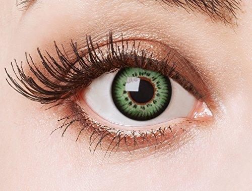 aricona Kontaktlinsen Farblinsen - farbige Kontaktlinsen ohne Stärke - grüne Circle Lenses, farbig bunte Augenlinsen, 12 Monatslinsen für Cosplay, Anime & Manga Big Eyes