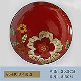 YUWANW Retro handgemaltes Keramik Geschirr Creative Home Teller Rund Flach Teller Suppenteller Steak Teller Art Deco Teller, a04- Disc Modelle