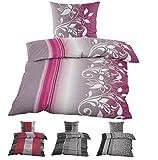 2tlg. Microfaser Kuschel Flausch Soft Fleece Bettwäsche 135x200cm / 155x220cm, Warme Winterbettwäsche, (135x200cm Ranken Pink)