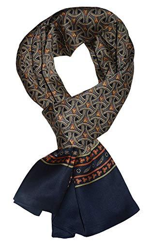 UK_Stone Halstuch Herren 100% Seide Schal Vintage Pattern Seidenschal Herrenschal, (Geflochtenes Pattern Marineblau ...) -