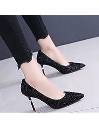 SFSYDDY-Profesional Negro De 9Cm De Tacón Alto Fino Con Poca Boca Solo Zapatos Femeninos De Satén De Primavera Y Oto?o Punta…