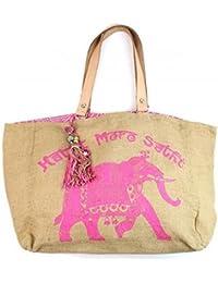 S. K. Packers Designer Brown & Pink Jute Bag (30 X 30 X 20 Cm)
