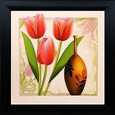 SAF 'Flower Floral' Painting (Synthetic, 30 cm x 2 cm x 30 cm)