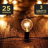 LAVUR Lichterkette - Lichterkette Glühbirnen 7,5m - 25 Glühbirnen - 3 Ersatzbirnen - wasserdicht - um maximal 3 Stränge erweiterbar - mit Bedienungsanleitung