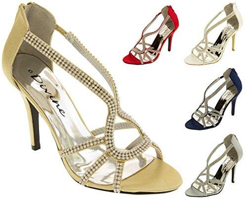 Divine Satin à Diamante Chaussures Talons Hauts Femmes