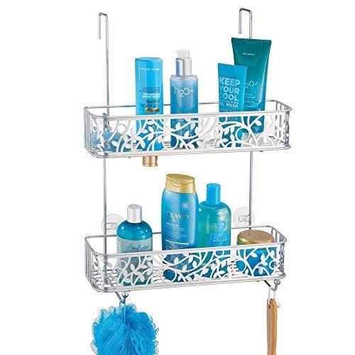mDesign Duschkorb zum Hängen über die Duschtür – hübsche Duschablage ohne Bohren – Duschregal aus Metall mit zwei Körben und zwei Haken für allerlei Duschzubehör – silberfarben