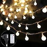 B-right 100 LEDs Globe Lichterkette, LED lichterkette warmweiß, Globe String Licht Sternenlicht mit Fernbedienung, Innen- und Außen Deko Glühbirne, Weihnachtsbeleuchtung für Weihnachten, Hochzeit, Party, Weihnachtsbaum