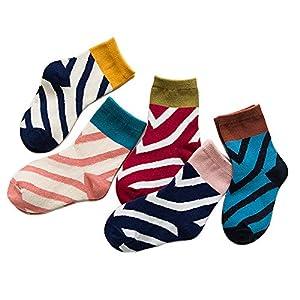 RUOHAN Kinder Socken 5 Paar Kindersocken Baumwollkindersocken Herbst England Wind Slant Color Baumwollsocken