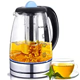 AckMond Electric Borosilicate Glass Tea Kettle with FREE Included Tea Infuser LED Lighting