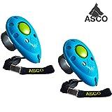 ASCO 2x Premium Clicker, Finger Clicker für Clickertraining, Hunde Katzen Pferde Profi Clicker, Hundetraining Klicker blau AC04F, 2 Stück